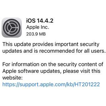 Apple rilis pembaruan iOS 14.4.2 untuk memperbaiki celah keamanan penting di iPhone dan iPad.