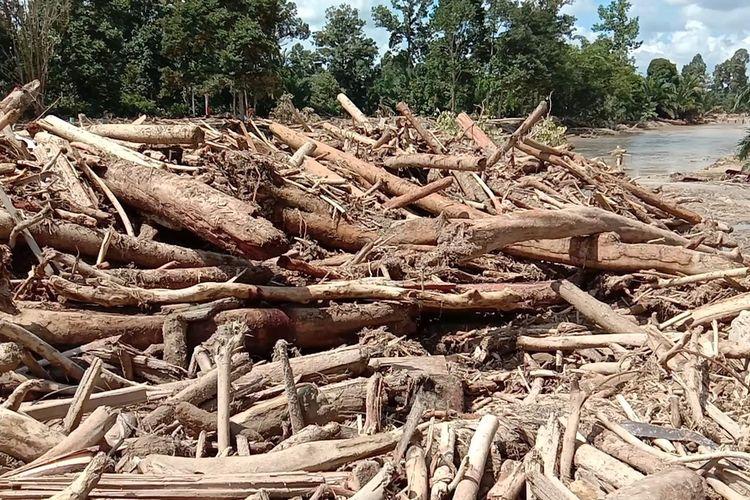 Material banjir berupa Kayu gelondongan memenuhi setiap lokasi banjir di enam kecamatan di Luwu Utara, Sulawesi Selatan, kayu gelondongan ini membuat tim kesulitan dalam melakukan pencarian dan evakuasi korban, Senin (20/07/2020)