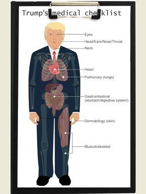 Bagan tes kesehatan Presiden AS Donald Trump. (BBC)