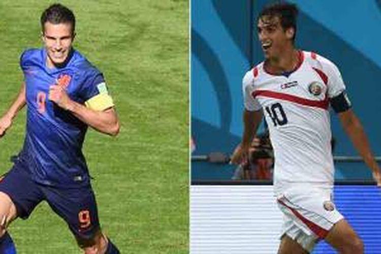 Kombinasi foto yang dibikin pada 3 Juli 2014 yang memperlihatkan aksi striker dan kapten Belanda Robin van Persi (kiri) pada 18 Juni 2014 di Porto Alegre dan penyerang sekaligus kapten Kosta Rika, Bryan Ruiz, pada 29 Juni 2014 di Recife.