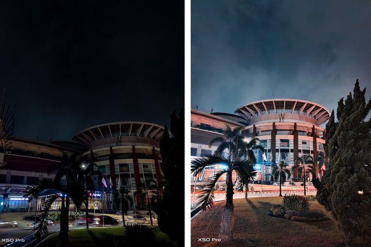 Hasil jepretan kamera Vivo X50 Pro sebelum dan sesudah menggunakan fitur Extreme Night Vision.