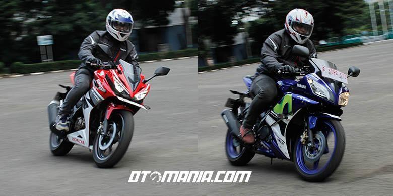 Posisi berkendara Yamaha R15 dan Honda CBR 150