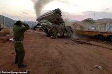 Video Viral, Tank Israel Ini Terbalik Saat Naik ke Kendaraan Angkut