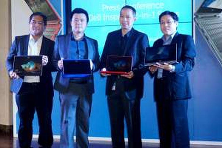 Dari kiri ke kanan: Mickel Moring, BDM Services Dell Indonesia; Yohan Wijaya, MNC Sales Director Intel Indonesia; Martin Wibisono, Consumer Country Director, Dell Indonesia; dan William Hartoyo, Brand Manager Consumer EUC Dell Indonesia saat acara peluncuran Inspiron baru di Indonesia, Kamis (21/7/2016)