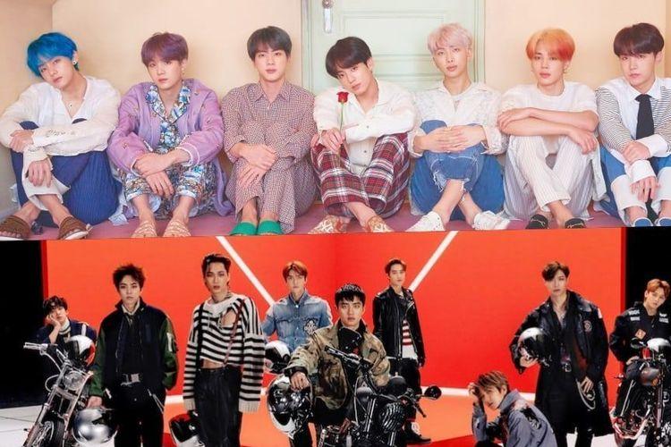 Boyband BTS dan EXO.