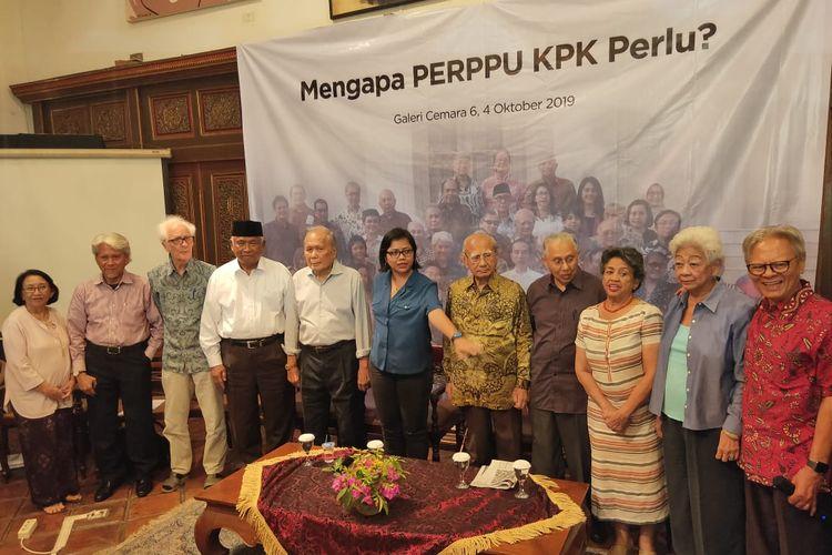 Para tokoh bangsa berkumpl menggelar konferensi pers soal Perppu KPK di kawasan Jakarta, Jumat (4/10/2019).