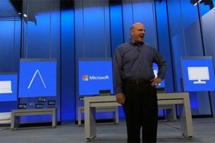CEO Microsoft Steve Ballmer sewaktu peluncuran Windows 8.1 Preview public beta, Rabu (26/6/2013)