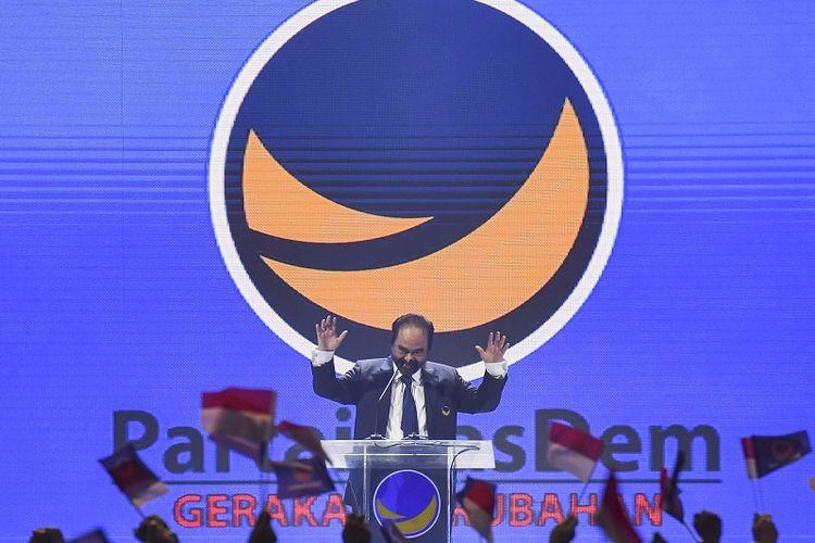 Ketua Umum Partai NasDem Surya Paloh memberikan sambutan saat pembukaan Kongres II Partai NasDem di JIExpo, Jakarta, Jumat (8/11/2019). Kongres II Partai NasDem yang digelar 8-11 November itu mengusung tema Restorasi Untuk Indonesia Maju. ANTARA FOTO/Hafidz Mubarak A/nz