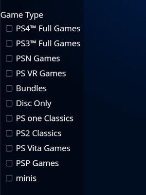 Ilustrasi menu sortir game berdasarkan jenis konsol di PlayStation Store.