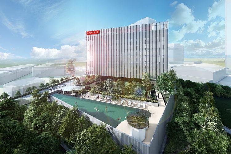 Hasil rendering The Standard Hotel di Singapura.