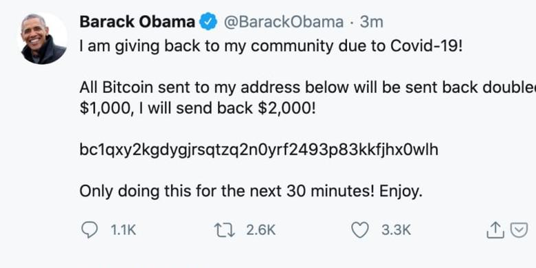 Twitter Barack Obama saat diretas.