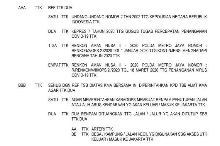 Beredar sebuah surat telegram nomor STR/414/III/OPS.2./2020 yang memerintahkan Kapolres di wilayah hukum Polda Metro Jaya untuk membuat rekayasa penutupan arus lalu lintas dari dan menuju Jakarta selama masa karantina wilayah atau lockdown.