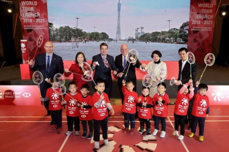BWF berpose dalam acara peluncuran World Tour Finals di Guangzhou, China, Senin (8/1/2018).