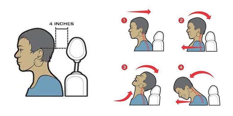 Ilustrasi setelan sandaran kepala.