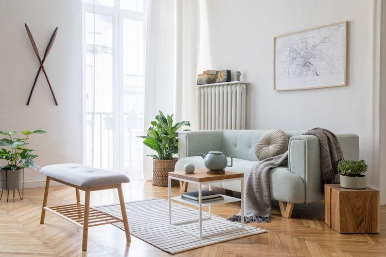 Ilustrasi interior rumah bergaya Skandinavia.
