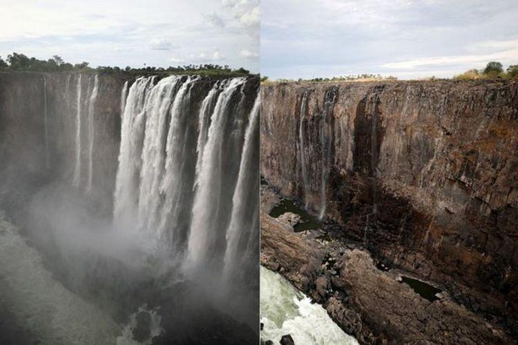 Air terjun Victoria yang mengalir di perbatasan Zimbabwe dan Zambia merupakan salah satu keajaiban alam di dunia. Tapi pada 2019 air terjun terbesar di Afrika itu berhenti mengalir.