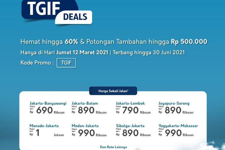 Promo khusus Garuda Indonesia khhusus pembelian tiket di hari ini, Jumat (12/3/2021)