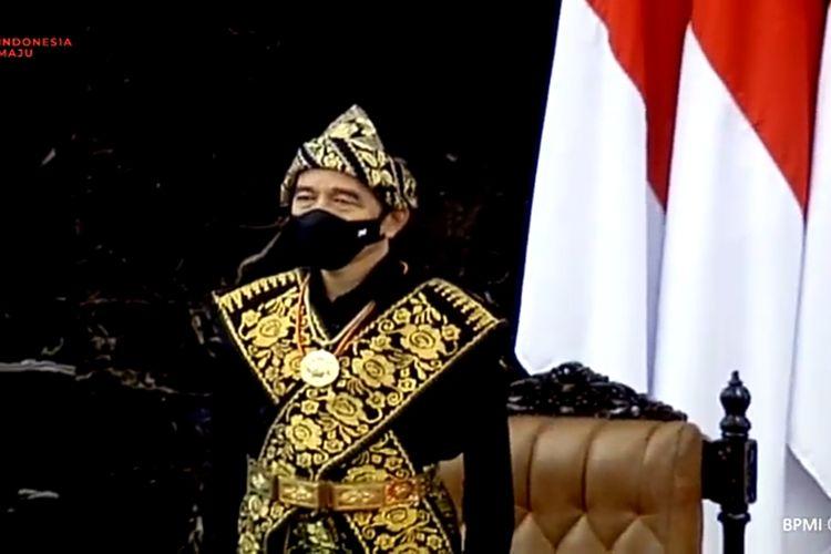 Presiden Joko Widodo menghadiri sidang tahunan MPR, di Kompleks Parlemen, Senayan, Jakarta, Jumat (14/8/2020) pagi.
