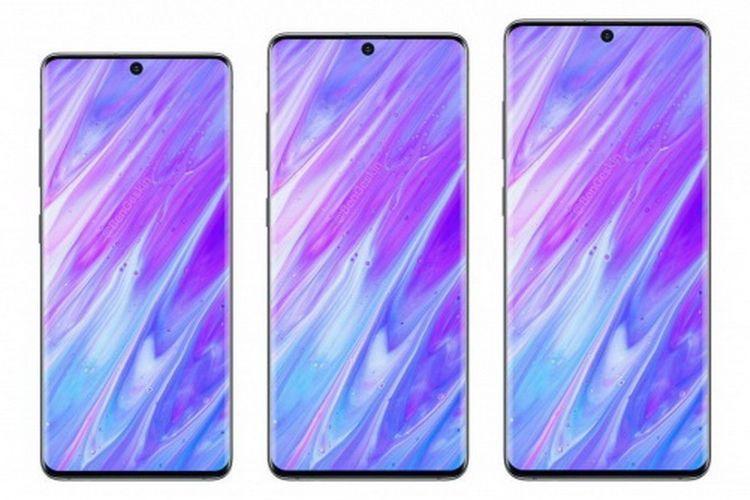 Ilustrasi tiga varian Galaxy S11. Dari kiri Galaxy S11e, Galaxy S11, Galaxy S11 Plus