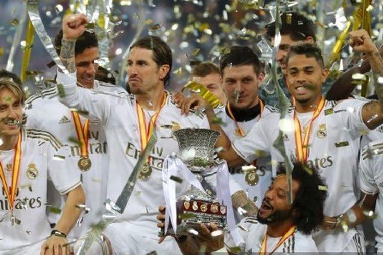 Sergio Ramos dan Marcelo saat merayakan Gelar k-21 selama berseragam Real Madrid.