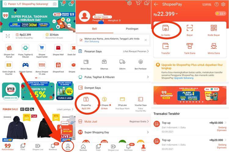 Cara mengisi saldo ShopeePay melalui aplikasi Shopee.