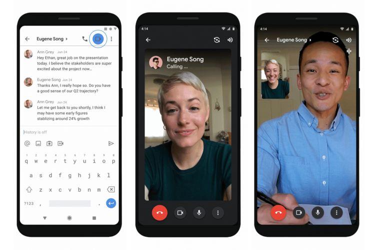 Tampilan voice dan video call di dalam aplikasi Gmail.