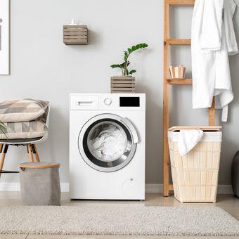 Ilustrasi mesin cuci, ruang cuci.