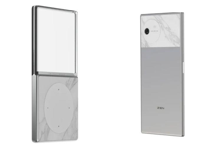 Desain ponsel Vivo yang mirip iPod (kiri) dan seri ponsel terbaru bernama Zen (kanan).