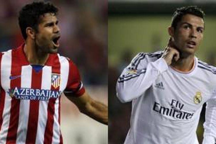 Penyerang Atletico Madrid, Diego Costa, dan bintang Real Madrid, Cristiano Ronaldo, akan beradu tajam dalam laga derbi Madrid, Sabtu (28/9/2013).