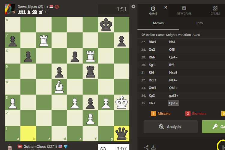 Screenshot of the chess.com game where Dadang Subur (Dewa_Kipas) beat Levy Rozman (GothamChess)