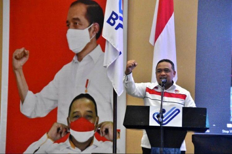 Kepala Badan Pelindungan Pekerja Migran Indonesia (BP2MI) Benny Rhamdani saat membuka kegiatan Rakornis Penguatan Tata Kelola Penempatan dan Pelindungan PMI di Manado, Sulawesi Utara, Sabtu (21/11/2020).