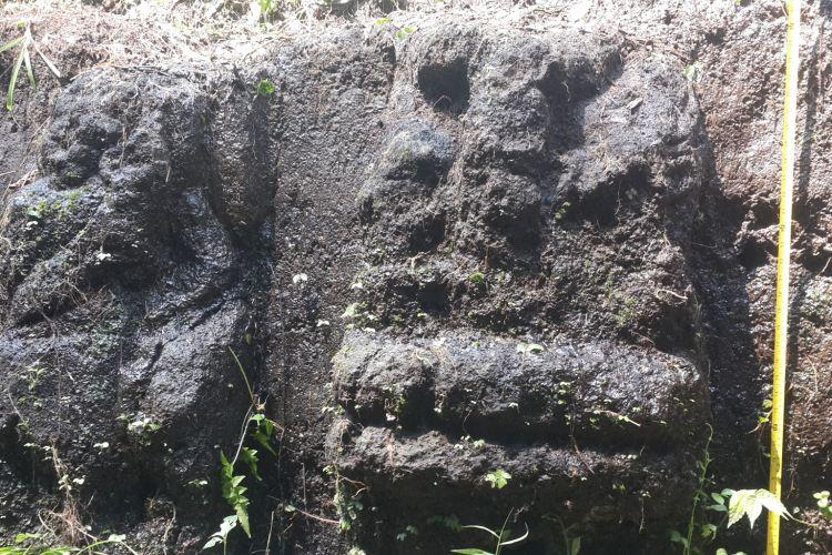 Pahatan arca yang ditemukan di Dusun Nanasan, Desa Ngawonggo, Kecamatan Tajinan, Kabupaten Malang, Rabu (26/4/2017).