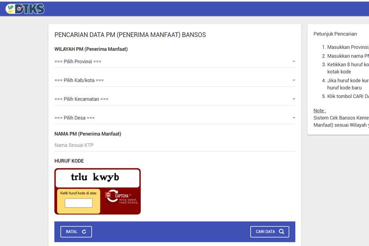 Tangkapan layar laman untuk mengecek data penerima bansos Kemensos.