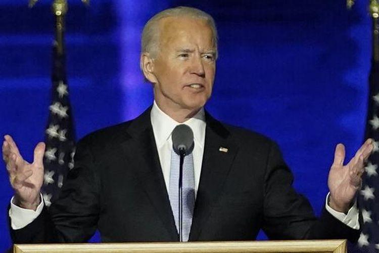 Joe Biden saat pidato kemenangan di pilpres Amerika Serikat 2020.