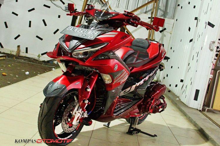 Modifikasi Yamaha Aerox 155 Banjarmasin dengan warna red candy tone