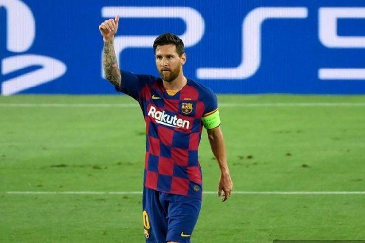 Lionel Messi merayakan gol yang dicetaknya dalam laga leg kedua babak 16 besar antara Barcelona dan Napoli di Stadion Camp Nou, Sabtu (8/8/2020) atau Minggu (9/8/2020) dini hari WIB.