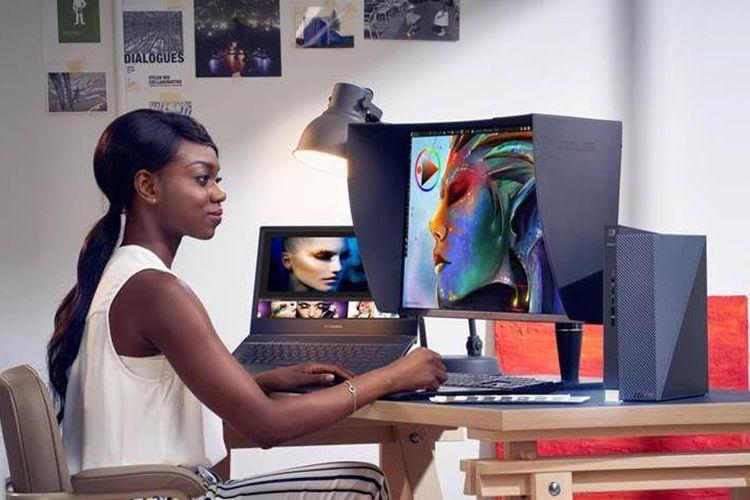 Ilustrasi pengguna laptop profesional Asus seri ProArt.
