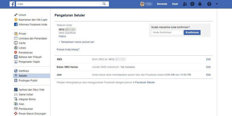 Cara menambahkan nomor telepon di Facebooko