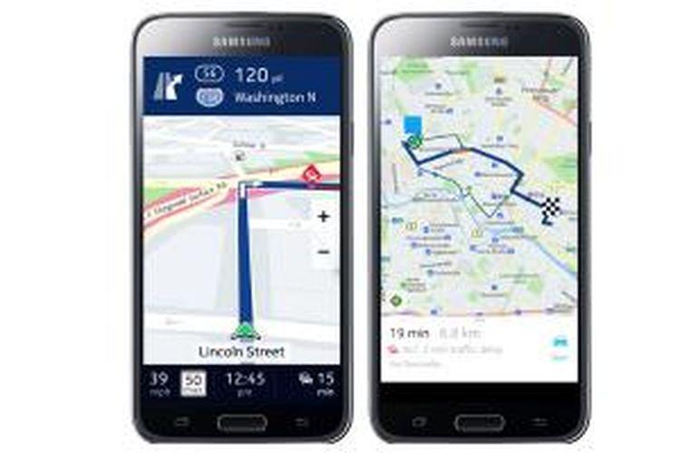 Nokia HERE vs Google Maps di perangkat Samsung Galaxy.