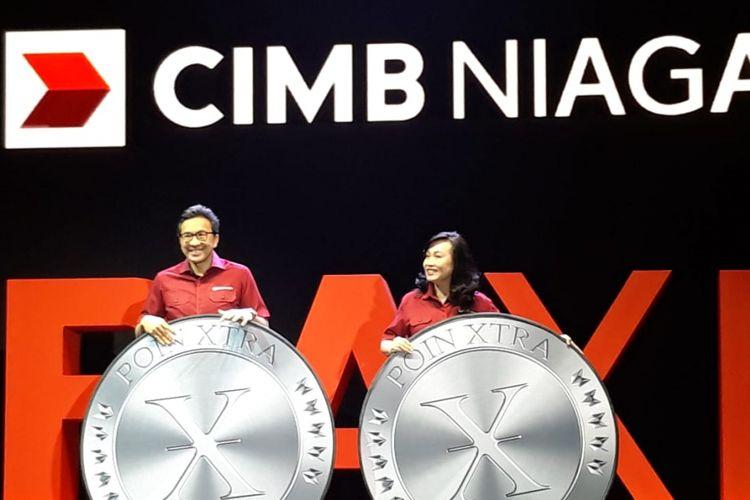 Presiden Direktur CIMB Niaga Tigor M Siahaan dan Direktur Consumer Banking CIMB Niaga Lani Darmawan di Tangerang Selatan, Sabtu (16/2/2019).