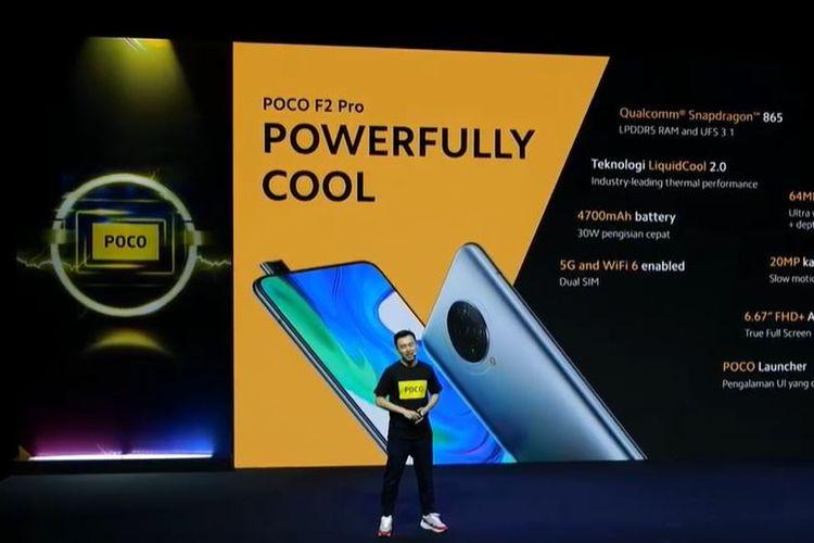 Country Director Xiaomi Indonesia, Alvin Tse, memperkenalkan Poco F2 Pro, dalam sebuah acara peluncuran online, Selasa (14/7/2020).