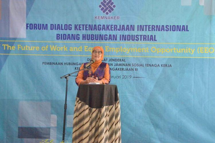 Forum Dialog Ketenagakerjaan Internasional Bidang Hubungan Industrial di Semarang, Jawa Tengah pada 25-27 Februari 2019.