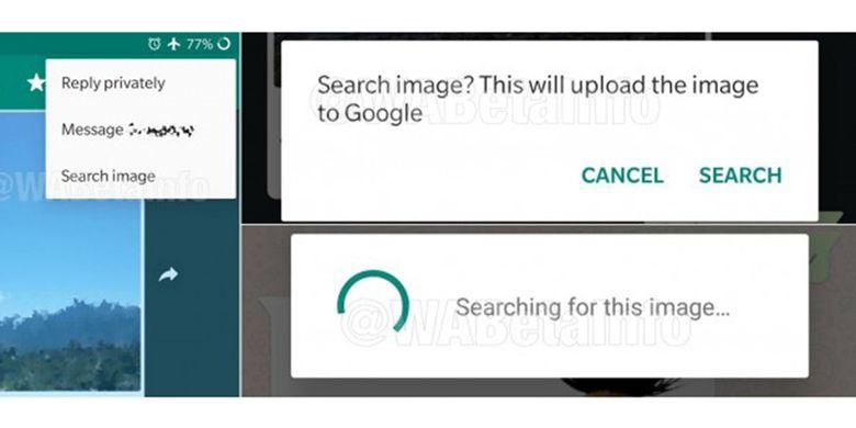 Tangkapan layar dari fitur reverse image search di WhatsApp versi beta.
