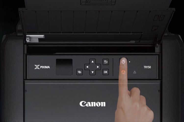 Layar dan kumpulan tombol di printer Pixma TR150.