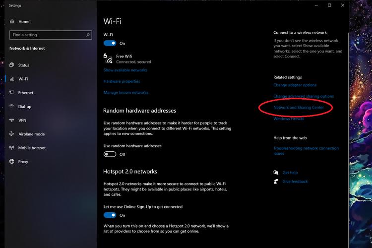 Cara melihat password wifi di PC dan laptop berbasis Windows 10 lewat Network and Sharing Center.