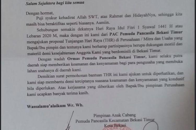 Surat permintaan THR yang beredar di Bekasi, Selasa (12/5/2020).