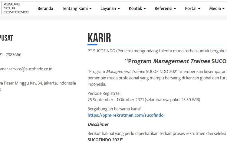Tampilan layar lowongan kerja yang sedang dibuka oleh BUMN PT Superintending Company of Indonesia (Persero) atau Sucofindo.