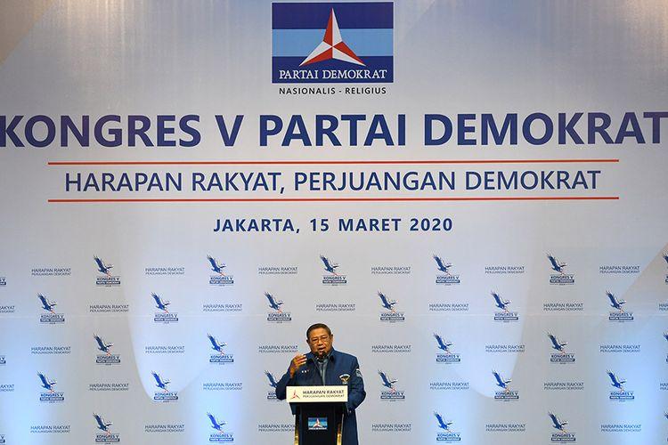 Ketua Umum Partai Demokrat, Susilo Bambang Yudhoyono menyampaikan pidato politiknya pada pembukaan Kongres V Partai Demokrat di Jakarta, Minggu (15/3/2020). Kongres tersebut bertemakan Harapan Rakyat, Perjuangan Demokrat.