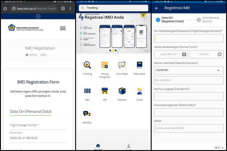 Tampilan formulir registrasi IMEI di situs beacukai.go.id (kiri), dan tampilan aplikasi Mobile Beacukai dan formulir registrasi IMEI di aplikasi (tengah dan kanan).