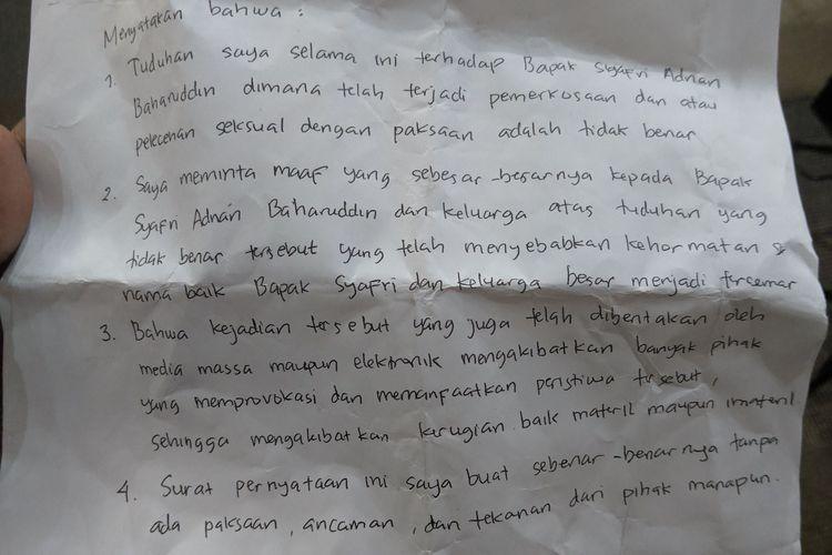 Surat pernyataan RA berisi klarifikasi dan permohonan maaf tudingan pemerkosaan oleh SAB.